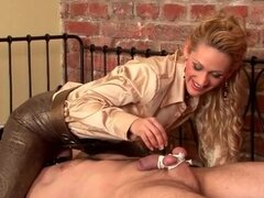She ties him up and makes his cock and balls hurt