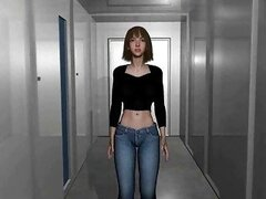 Chained 3d animated girl with bigtits fingered her