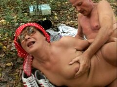 Hardcore outdoor sex with granny and granpda