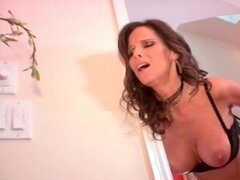 Eaten out white mom in lingerie fucked