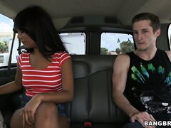 Latina cutie gets picked up by the Bang Bus and gets naked for cash