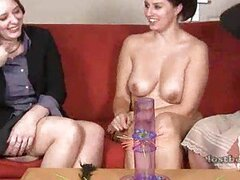 Girls play a strip game and show body