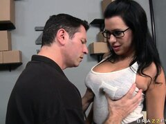 Seductive brunette with awesome big tits takes a break from work to satisfy her desires