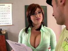 Breath-taking cougar with a huge rack gets freaky with a student