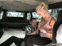 Blonde with big tits gets playful while riding in the Bangbus