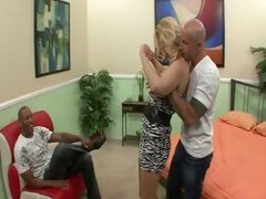 Blonde wife satisfies a stranger in front of her hubby