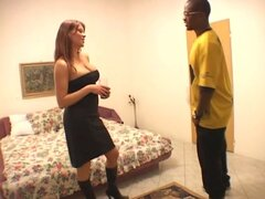Slutty brunette with droopy boobs Krystal V sucks a black tool in the motel