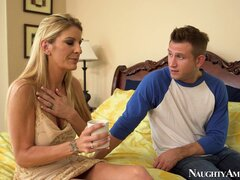 Sexy blonde MILF Robbye Bentley makes out with a horny young man