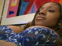 Busty ebony babe gests pussy and ass fucked