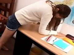 Teen Girl Caught Humping Desk