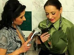Lesbian Brunettes Gina Killmer And Victoria Rose Play Under A Shower