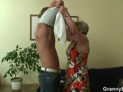 Lonely granny gets fucked in various poses