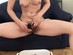 Lia Rav shaving her bush on the sofa in a hot solo video, for the fetishists!