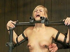 This Cute Blonde Is Tied Up & Love Juice Forced Out Of Her Gash