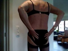 Crossdress in black, jerk my dick