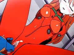 Animated babe in red getting pumped