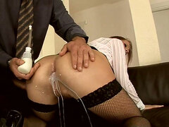 Milk enema and anal pounding for sexy MILF Katy Parker