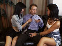 Older guy gets his cock handled by Rosemary Radeva and her friend