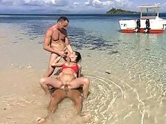 MMF Threesome In Unbelievable Crystal Waters with Renata Black