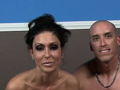 He fucks that fishnet clad babe doggy style, she eats cum and they rest