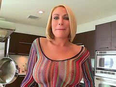 Beautiful blonde milf Melanie Monroe and her imposing natural boobs and massive butt