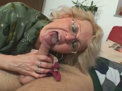 Mature old slut loves sucking this young hard cock