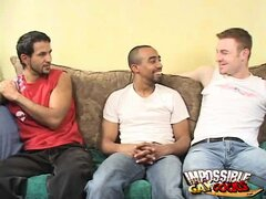 Trashy black gay Clay sucking two young hunks with his impossible cock