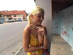 Horny Blonde With Amazing Jugs Shows Them Outdoors
