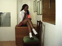 Misbehaving ebony schoolgirl gets her hot ass spanked