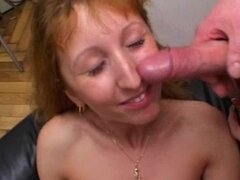 Redhead amateur Milf double blowjob anal and double facial cumshots