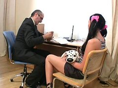 Sexy secretary Alina has sex with her elderly boss