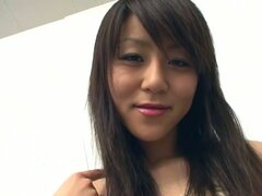 Cute asian amateur babe in stockings teases in front of camera