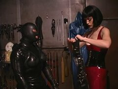 Horny mistress getting her slave ready for some action