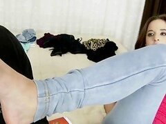Sexy teen girl having footsie fun