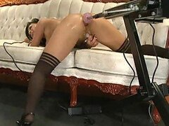 Hot Brunette Ass Getting Drilled By Machine