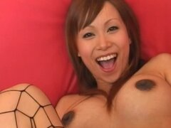 Pregnant Japanese bitch stretches out her hairy pussy