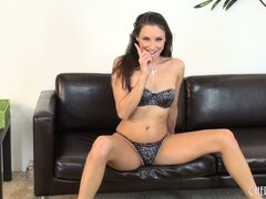 Slutty brunette babe Celeste Star gives an awesome solo show