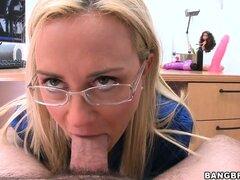 The horny blonde has striking blue eyes and can't get enough of that dick in her cunt