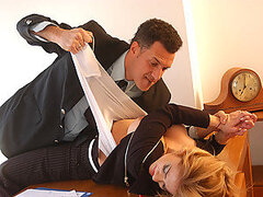 A randy boss takes advantage of his hot blonde assistant and tears her clothes off