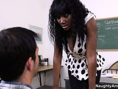 Ebony hottie Nyomi Banxxx uses her big tits and lustful lips to seduce the student