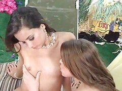 Two Lesbians Adrienne Manning and Georgia Jones get horny on Bed