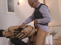Old guy slams her tight vag