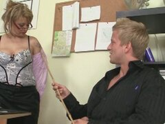 Young stud fucks his old cougar boss