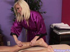 Busty blonde Diamond gives a massage then gets naked to focus on his boner