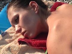Naughty Russian chick gets fucked after sunbathing on the beach