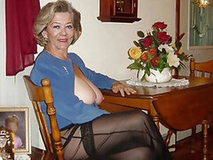 A sex mad granny dresses up in her raunchy gear and shows her sexy side off
