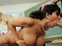 The student facefucks and pounds slutty teacher Tara Holiday