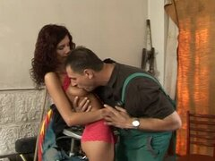 Brunette lust with curly hair gets balled hard