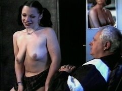 Two horny girls suck this lucky old dude in hot vintage video