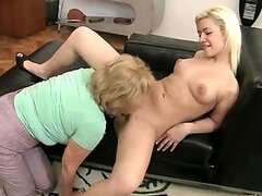 Sexy blond teen and a mature blond lady get two cocks